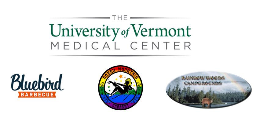 UVM Medical Center, Bluebird BBQ, Rainbow Woods Campground and Green Mountain Cabaret